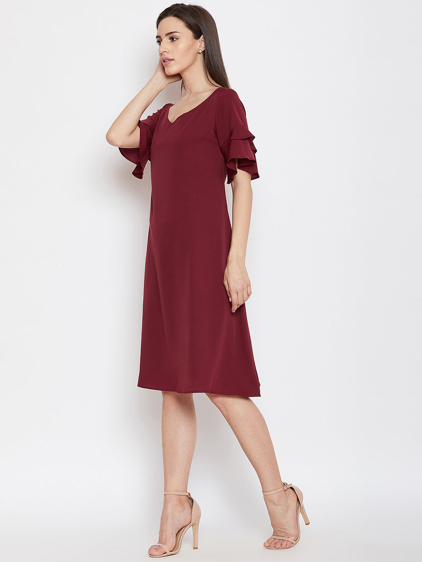 Fabnest womens maroon crepe a line dress