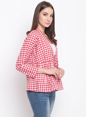 Fabnest womens handloom cotton red and white check peplum short shrug
