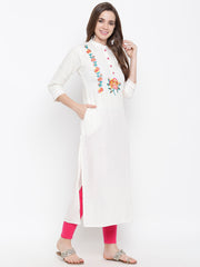 Fabnest womens rayon white embroidery kurta
