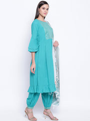 Fabnest womans teal ethnic kurta and harem pant set with flounce sleeves, gathers at waist and frill at bottom hem and golden gota inserts paired with block printed chanderi dupatta.
