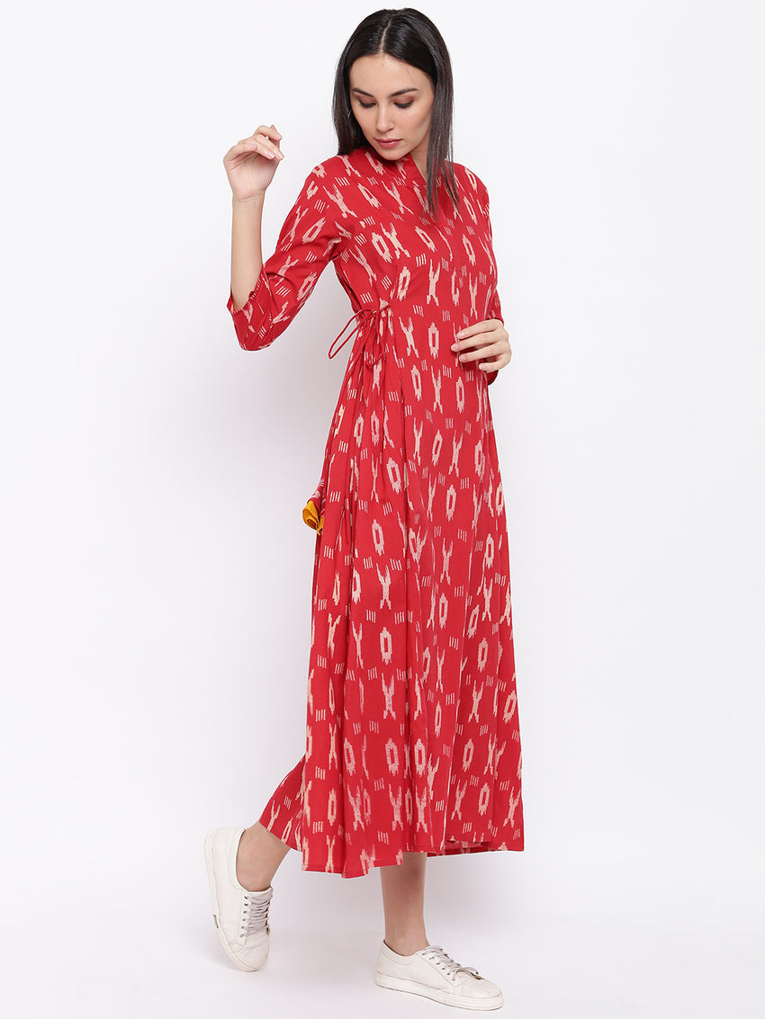 Fabnest womens cotton red ikkat dress with tie ups on the side