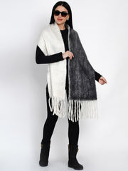 Fabnest Women Wool Blend Double Sided Black And White Winter Scarf