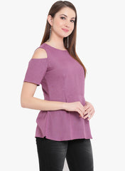 Fabnest Womens lilac cotton peplum top with cold shoulders