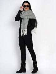 Fabnest Women Wool Blend Herringbone Design Grey Scarf