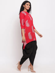 Fabnest womens assymetrical hem red printed cotton kurta with black cotton dhoti salwar