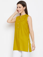 Fabnest women olive rayon short sleeveless kurta/tunic with pintuck and cut dana work