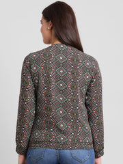 Fabnest womens black abstract print bomber jacket with peach lining