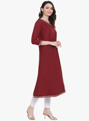 Fabnest womens maroon angarkha kurta with contrast facing and gota insert