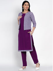 Fabnest Womens Purple Cotton Straight Kurta And Pant Set With Purple And White Jacket