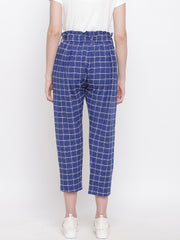 Fabnest womens handloom cotton blue window pane cropped pants with belt