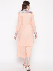 Fabnest women set of palazzo and kurta with waist tie up in peach cotton fabric
