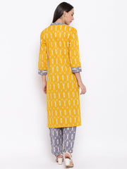 Fabnest womens cotton yellow and grey ikkat set of a ikkat Kurt's with accents and pants