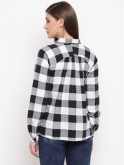 Fabnest womens cotton Black and white big  check shirt with raglan sleeves and front opening