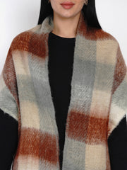 Fabnest Women Wool Blend Maroon and Cream Check Winter Scarf