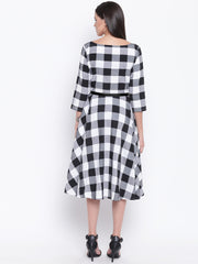 Fabnest womens black and white big check fit and flare dress belt not included