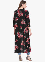 Fabnest crepe womens black printed cape