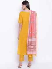 Fabnest womens cotton yellow straight kurta and pant set with dull gota inserts with a contrasting dual coloured printed chanderi dupatta.