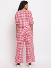 Fabnest womens handloom cotton red and white check cropped top and palazzo pant set