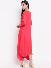 Fabnest women rayon dress with assymetrical ballooned bottom