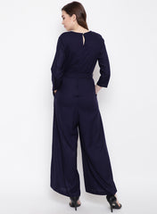 Fabnest women rayon jumpsuit with pintucks and belt