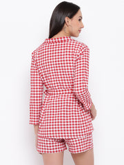 Fabnest Womens Cotton Handloom red and white gingham check tie up shirt/ jacket