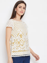 Fabnest women white lace top with skin lining