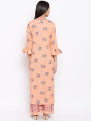 Fabnest womens rayon peach printed kurta and pant set with flounce sleeve and button detailing at the neck