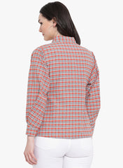 Fabnest womens check collared top with ballooned sleeve