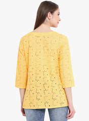 Fabnest womens cotton schiffly yellow top