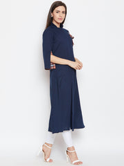 Fabnest women assymetrical navy blue cotton kurta with side tassles and sleeve in checks