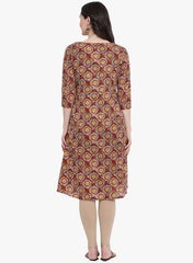 Fabnest womens  maroon printed kurta with pleats on the side