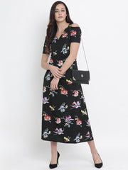 Fabnest womens crepe black floral print cold shoulder maxi dress