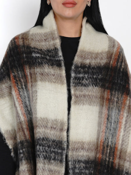 Fabnest Women Wool Blend Black and Cream Check Winter Scarf