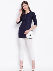 Fabnest womens navy front pintucks rayon short kurta/tunic