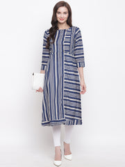 Fabnest womens cotton blue and off white stripe kurta with horizontal and vertical placements of stripes. And side placket with wooden buttons.