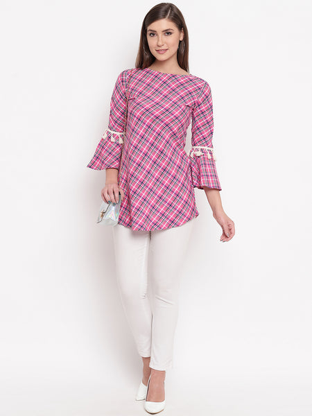 Fabnest women's cotton check pink flounce sleeve tunic