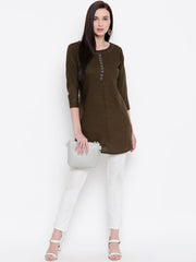 Fabnest womens rayon brown tunic with tagaai work