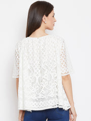 Fabnest women white lace top with gathers at neck