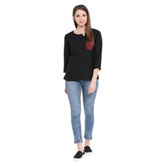 Fabnest womens black linen top with a red black check pocket