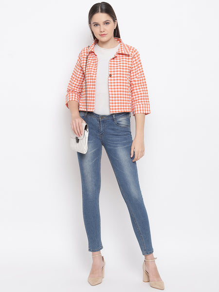Fabnest Womens Cotton Handloom cropped jacket with back tab in orange and white gingham