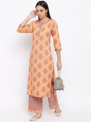 Fabnest womens rayon light orange printed pant and kurta set with round neck and wooden buttons with stripe pants.