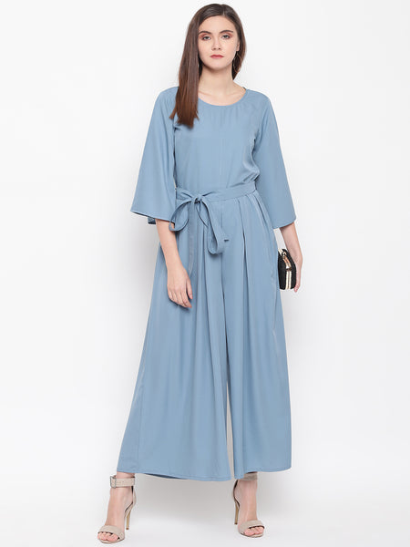 Fabnest womens crepe grey wide legged jumpsuit with bell sleeves and waist tie up.