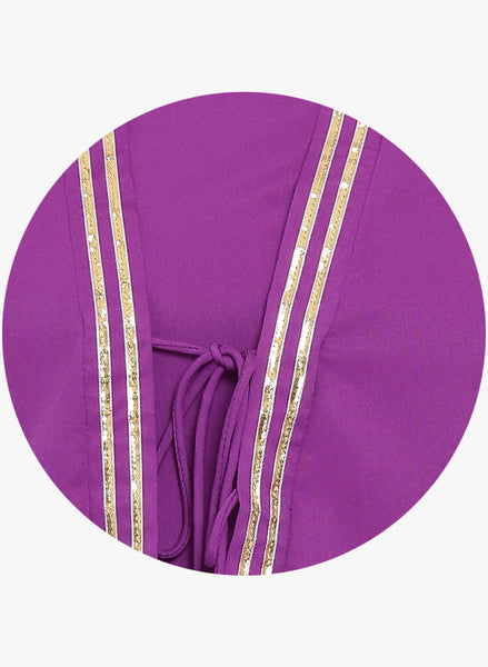 Fabnest womens purple coloured crepe straight kurta with sleeveless jacket and gota insert.