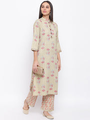 Fabnest women rayon light green printed kurta and pant set with thread detailing on placket and cuff.