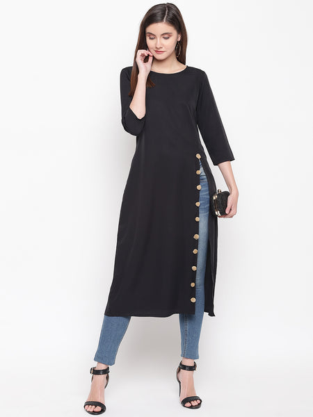 Fabnest womens crepe black long tunic with side slit and beige pom poms.