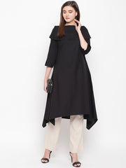 Fabnnest womens cotton flex black Cowl neck kurta with assymetrical hem.