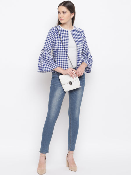 Fabnest Womens Cotton Handloom blue and white gingham check tie up shirt/ jacket