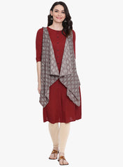 Fabnest womens maroon solid straight kurta with grey printed assymetrical sleeveless jacket.