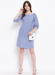 Fabnest womens handloom cotton blue and white check shift dress with balloon sleeves