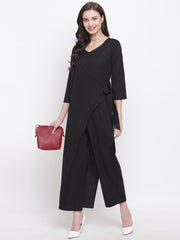 Fabnest womens cotton flex black jumpsuit with an overlap panel